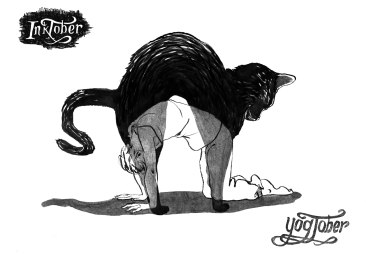 inktober cat pose