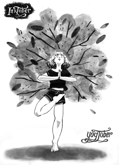 inktober tree pose